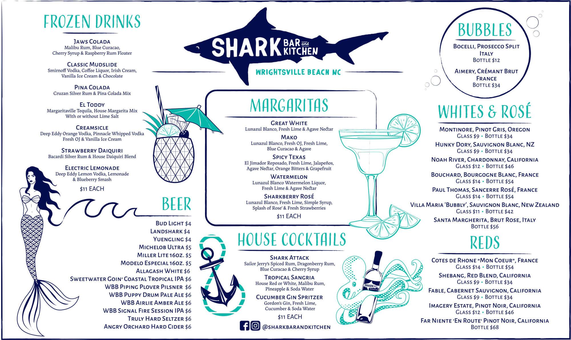 Shark Bar Drink Menu Summer 2019