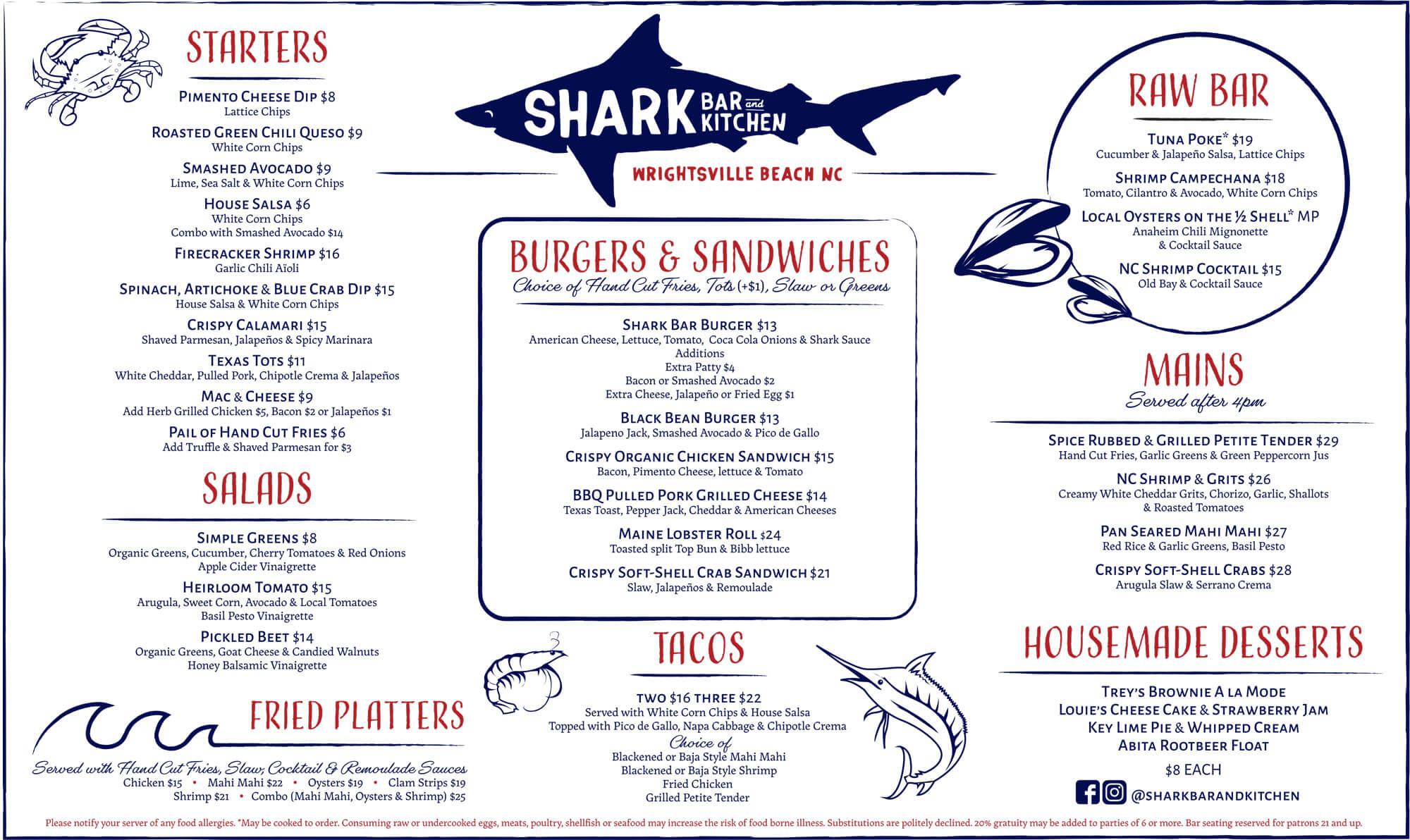 Shark Bar Lunch and Dinner Menu Summer 2019