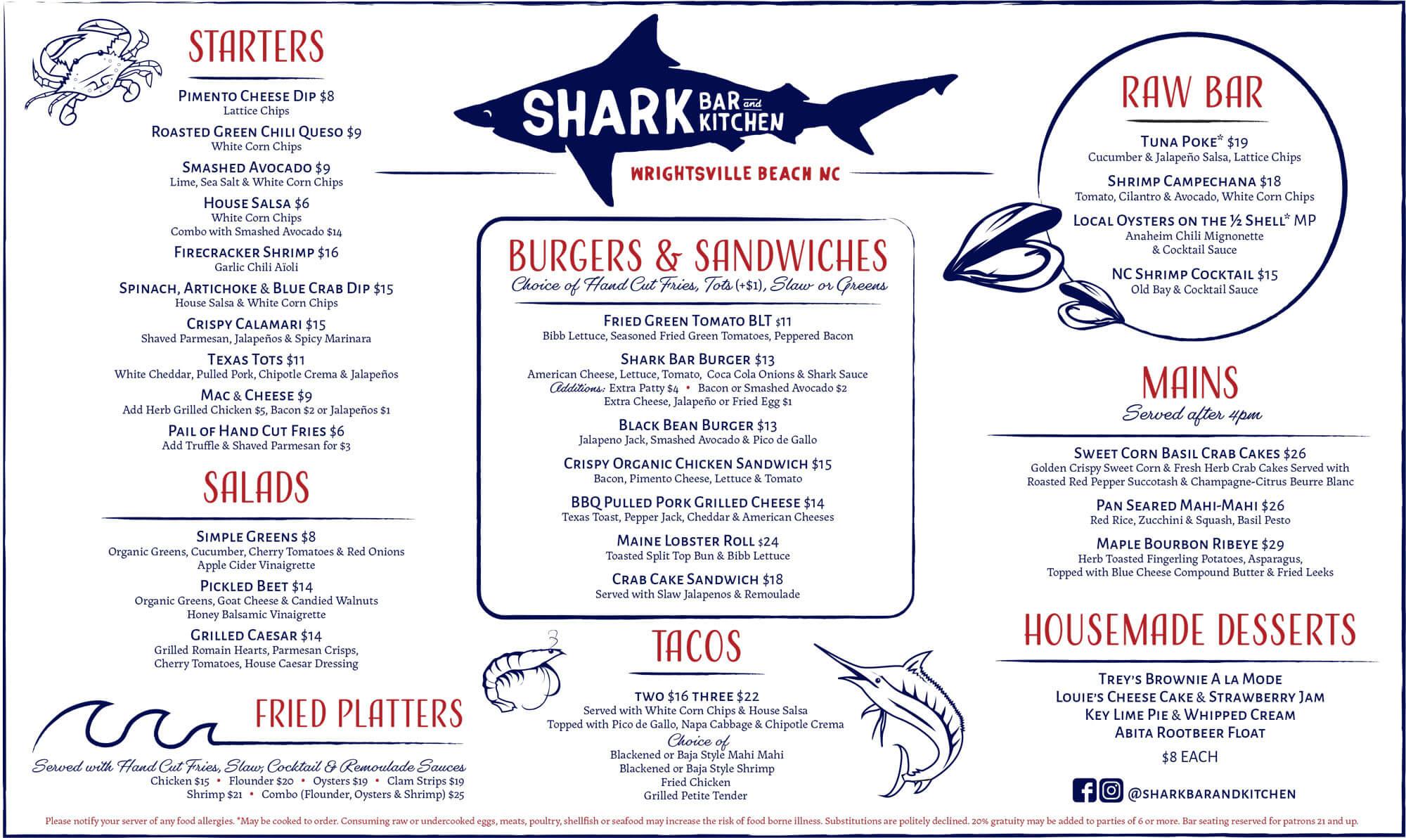 Shark Bar Fall Menu