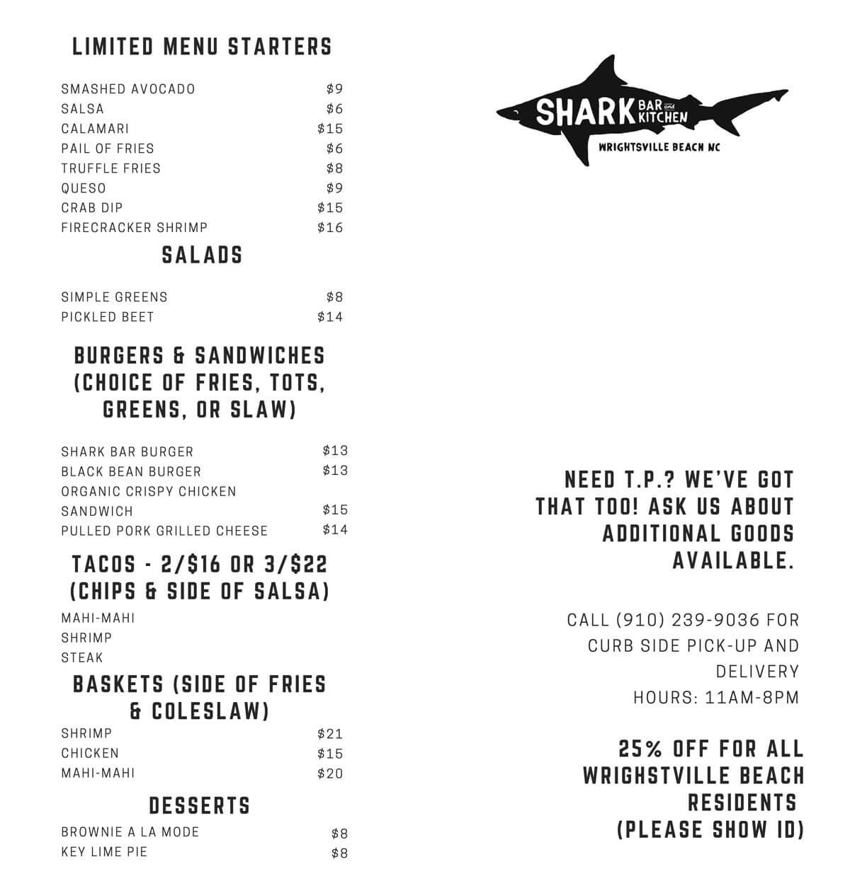 Shark Bar Take Out Menu