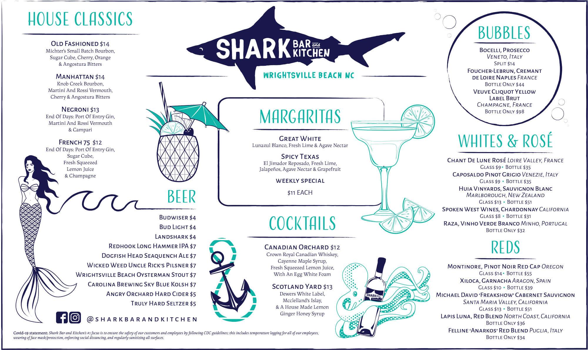 Shark Bar Drink Menu