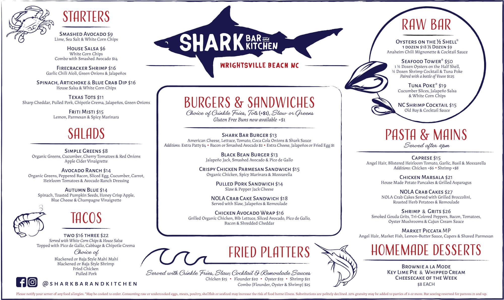 Shark Bar Menu