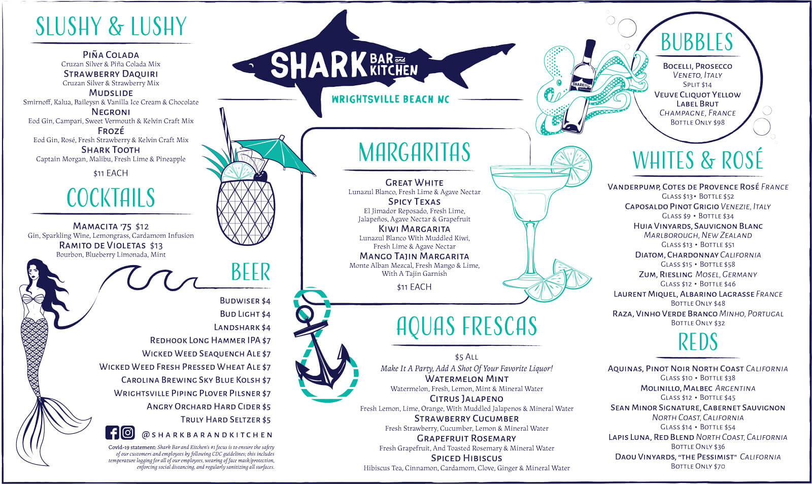 Shark Bar Summer 2021 Drink Menu